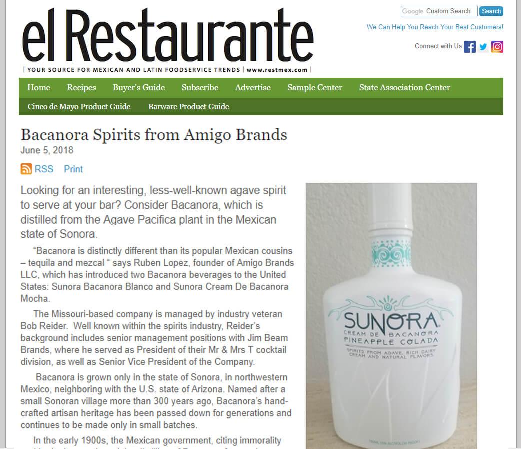 El Restaurante : Sunora Bacanora Spirits
